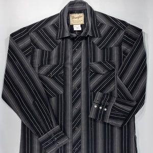Wrangler Pearl Snap Cowboy Rockabilly Black Shirt